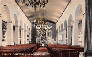 Mexico Old Vintage Antique Post Card Interior, Cathedral Matamoros Unused