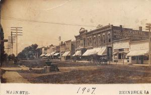 Reinbeck IA Robinson & Terrall Hardware~Meissner Building~Grocer~Clock 1907 RPPC