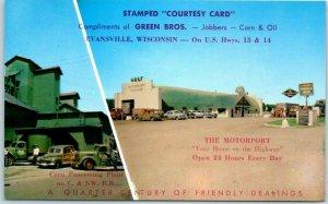 Evansville, Wisconsin Postcard GREEN BROS. MOTORPORT Truck Stop Gas Roadside