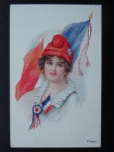 Female National Costume & Flag FRANCE c1916 Postcard Vivian Mansell 1021