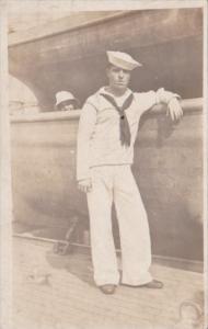 Sailor In Uniform Posing J M Millions Manila Philippines 1909 Real Photo