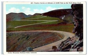 Mid-1900s Tundra Curves, Trail Ridge Rd Rocky Mountain National Park CO Postcard