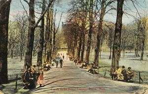 Boston Massachusetts~Walk on Boston Common~Chubble Victorian Girl~c1910 Postcard