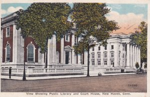 View Showing Public Library And Court House, NEW HAVEN, Connecticut, 1900-1910's