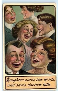Laughter is the Best Medicine Laughter cures Saves Doctor Bills Postcard D74