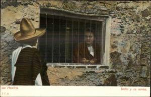 Life in Mexico Man & Woman Behind Barred Window Romance c1905 Postcard