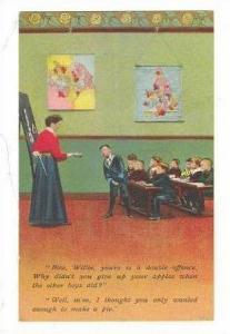 Boy in class hides apples from teacher, 00-10s