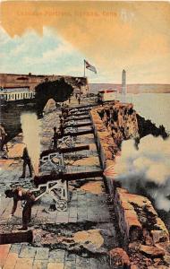 Havana Cuba Cabanas Fortress Cannons Antique Postcard J52808