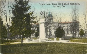 c1910 Hand-Colored Postcard; Portland OR County Court House & Soldiers Monument