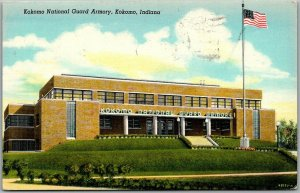 Kokomo, Indiana Postcard National Guard Armory Curteich Linen w/ 1946 Cancel