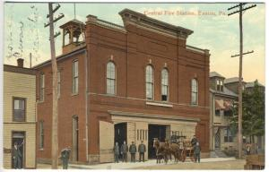 Easton PA Central Fire Station Horse Drawn Wagon Firefighters Postcard