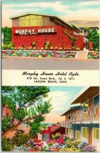 LAGUNA BEACH California Postcard Murphy House Hotel Apartments Highway 101 LINEN