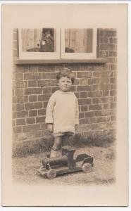 Social History, Portrait of Young Boy With Toy Steam Train RP PPC, c 1920s