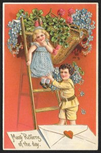 Many Returns Of The Day Girl On & Boy At Ladder & Violets Used c1910s