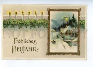 240571 NEW YEAR Winter Landscape Golden Picture Vintage PC