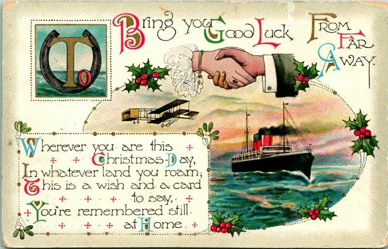 1914 W & K Carte Postale Bring You Good Luck De Loin Away Noël Airplane
