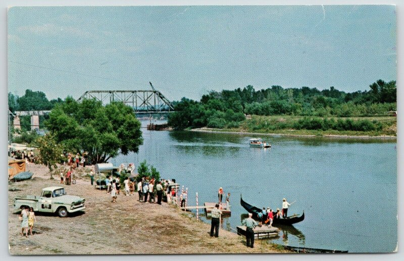 Clinton Indiana~Wabash River Bridge~Little Italy Gondola Pole Boat Ride~1960s