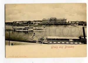271209 GERMANY Gruss aus DRESDEN steamships Vintage postcard