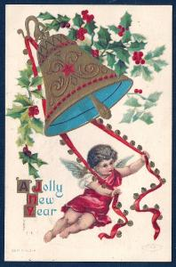 Cupid Ringing Bell Jolly New Year used c1909