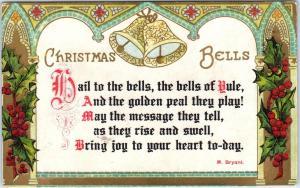 ARTS & CRAFTS Style CHRISTMAS GREETING  Christmas Bells 1915   Postcard