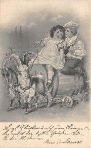uk40988 Fantasy Chariot goat art nouveau  germany greetings uk