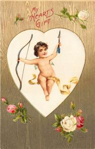 A Valentine My Hearts Gift Cupid Bow & Arrow Embossed Postcard