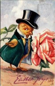 Rose Clark Easter Fantasy~Dressed Chick Next to Big Pink Rose~In Chickland~TUCK
