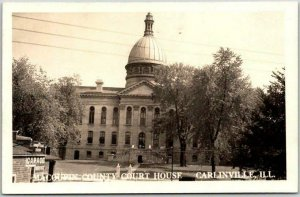1940s CARLINVILLE, Illinois RPPC Real Photo Postcard MACOUPIN COUNTY COURT HOUSE