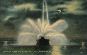 Moon over Fountain at Cobbs Hill Reservoir Rochester NY New York - pm 1912 - DB