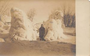 Sacred Heart MN O'Connor Trees As Abominable Snowmen~1st Blizzard~RPPC 1908