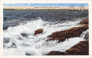 Spruce Point ME Sailing Ships Avoid the Rocks & Surging Surf Waves 1940s Linen