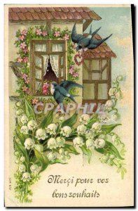 Old Postcard Fantasy Flowers Lily of the valley Swallows