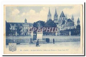 Caen Old Postcard The Lycee Malherbe l & # 39abbaye men and statue of Louis XIV
