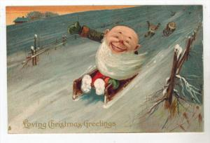2759 Tuck´s Christmas series 8360 Gnome on a sled