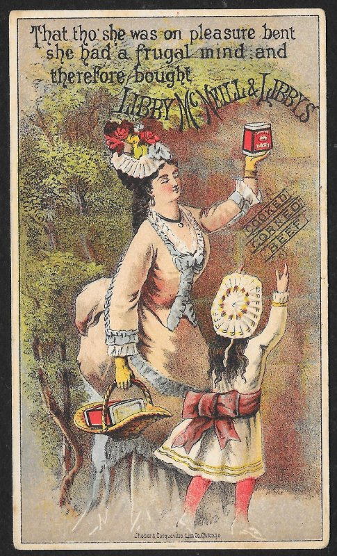 VICTORIAN TRADE CARD Libby McNeill & Libby Corned Beef Lady & Girl By Tree