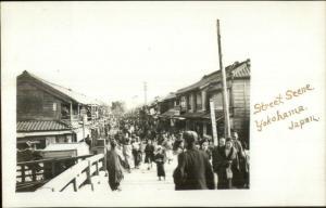 Yokohama Japan Street Scene c1910 Real Photo Postcard