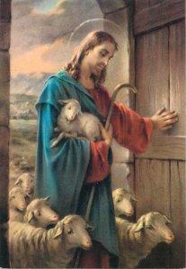 Postcard Religion Jesus saint sheep good shepheard holy door biblic