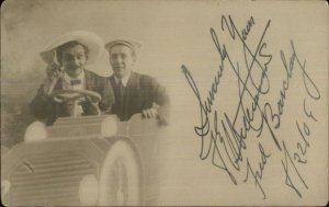 Studio Prop Men in Car Being Silly c1910 Real Photo Postcard