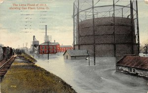 F59/ Lima Ohio Postcard 1913 Flood Disaster Railroad Gas Plant 4