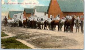 Baraboo, WI RPPC Postcard Ringling Bros. Horses Street Scene Circus c1910s