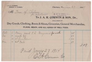 1912-14 Billhead, J.A.R. CORWIN & SON, Dr. Dry Goods, Clothing, Chelsea, Vermont