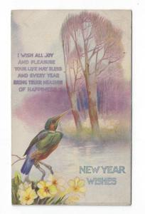 Early New Year Greetings Post Card, Bird, Yellow Flowers Near Water, Tuck, 1916