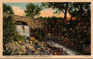 New York Binghamton Falls At Chenango Valley State Park Curteich