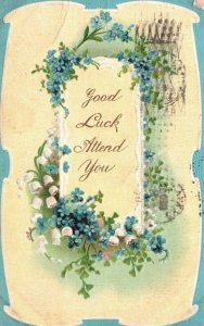 Greetings, Good Luck Attend You, Blue Flowers, 1912 Vintage Postcard g9793