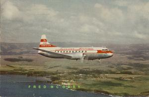 1956 Hawaiian Air Airline-Issued PC: Convair CV-340 in Flight, Advertising Back