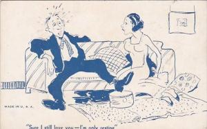 Vintage Arcade Card Humour Man and Woman On Couch I'm Only Resting
