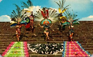 Mexico Aztec Folk Dances On The Side Of A Pyramid