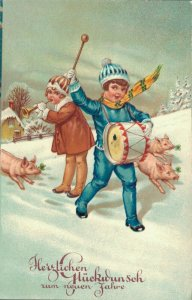 Happy New Year Kids playing drum and Pigs 04.02