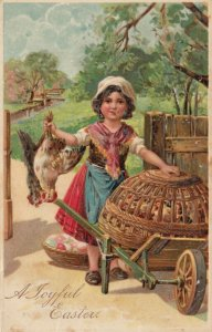 EASTER, PU-1910; Girl holding chickens by the feet, Wicker cage, eggs, PFB 8442