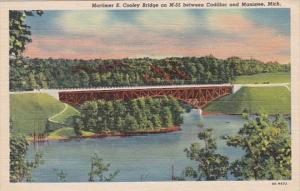 Michigan Mortimer E Cooley Bridge On M-55 Between Cadillac and Manistee Curteich